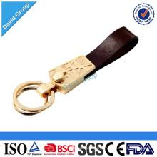 ¡Mejor vendedor! Logotipo modificado para requisitos particulares que imprime el llavero de cuero del metal con el logotipo grabado laser