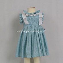 Baby Smocked Ruffle Blue Floral Mädchen Kleid