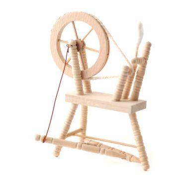 Dollhouse Miniature Oak Spinning Wheel
