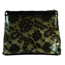 Waterproof PVC Cosmetic Handbag with Satin Lace