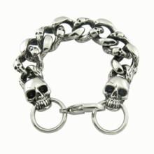 Link Length Fashion 316L Skull Men′s Stainless Steel Bracelet