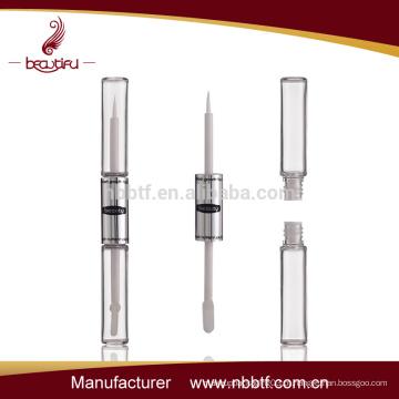 China novo design rímel tubo popular slim redondo tubo cosmético dupla garrafa de rímel