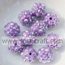 Hot Purple AB Solid Resin Rhinestone Beads For DIY Bracelets 10*12MM