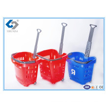 Hot Sale Colourfull Rolling Shopping Baskets with One Telescopic Handle