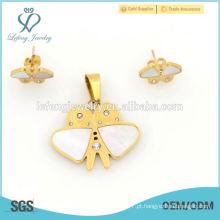 Atacado de atacado de preços de ouro borboleta jóias de aço conjuntos atacado
