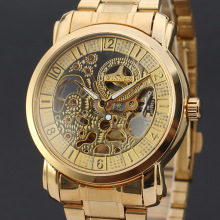 luxury golden men watch with classical skeleton dial design stainless steel band