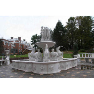 Naked Lady With Horse Fountain for Home Decoration