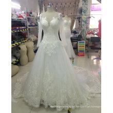 Lujoso de alta calidad de manga larga vestido de novia de encaje