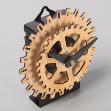 Mini Bamboo Desk Gear Clock