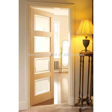 Стиль Дубовый Шпон Шейкер Деревянная Стеклянная Конструкция Двери