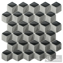 Interesante mosaico de vidrio para salpicaduras de cocina con diamantes