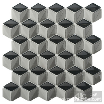 Mosaik Kaca Backsplash Diamond Kitchen yang menarik