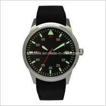 Bras en acier inoxydable avec bracelet en caoutchouc Luminous Men Wrist Watch