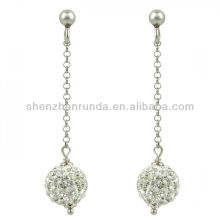 wholesale silver white crystal snowball drop earrings for girl's jewelry manufacturer supply importer