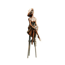 Female Home Decor Bronze Sculpture Hat Lady Small Brass Statue TPE-472