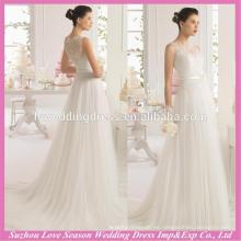 WD9113 2015 último diseño hecho en China Una línea de falda de tul de acanalado cerrado trasero botones de cremallera de encaje de Corea del vestido de boda de Corea