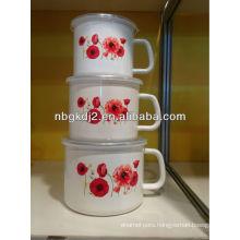 enamel milk pot set with PP lid