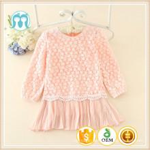 beiläufige Herbstkleidungsstücke für Kinder reizende langärmlige Spitze Winterkleidungkinder kausale einfache Kleider
