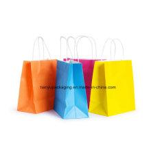 Bolsa de papel con mango Bolsa de compras Bolsa de colores y ambiental