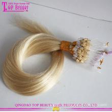Оптовая дешевые девственной бразильский шелковистыми прямо микро цикл волос