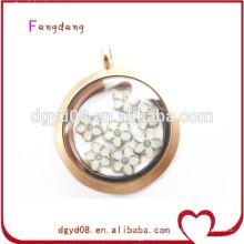 2015 mode 30mm en acier inoxydable mémoire de verre flottant médaillon pendentif bijoux
