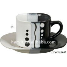 Personalized Fashionable Variable Design & Size Round Decal Stoneware Tea Cup & Saucer