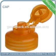 orange color bottle screw cap flip top cap adhesive screw caps