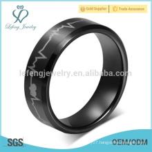 European laser men's black tungsten Rings electrocardiogram