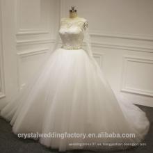Ver a través de espalda Alibaba blanco manga larga vestido de bola de encaje vestido de novia vestidos de novia con O Neck 2016 LWB01