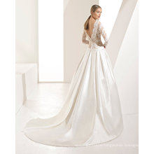 Long Sleeve Lace and Satin Bridal Gown Wedding Dress