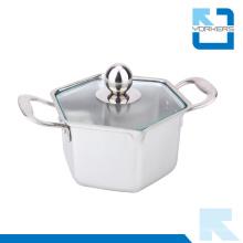 Utensílios de cozinha Pote hexagonal Aço inoxidável Mini pote quente