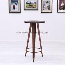 Modern High Wooden Top Bar Table with Metal Feet (SP-BT713)