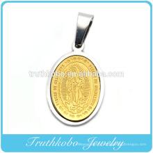 Truthkobo Deux Tons Virgen De Guadalupe Or Et Argent En Acier Inoxydable Collier De Prière Pendentif Bijoux Médailles