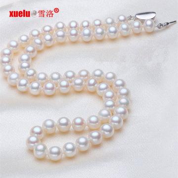 7-8mm vervollkommnen runde AAA Frischwasserperlen-Halsketten-Schmucksachen (E130016)