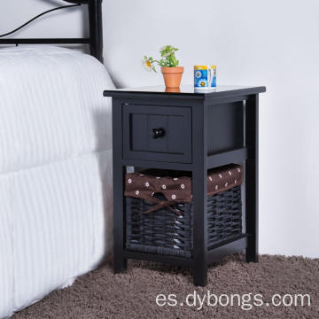Wooden bedside table Storage cabinet