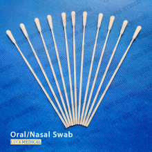 Écouvillon jetable d'échantillonnage de virus de rayonne floquée nasale orale