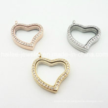 Coração de aço inoxidável pingente de jóias de vidro flutuante