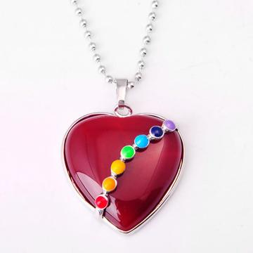 Seven Chakras Gemstone Red Carnelian Heart Pendant Necklace