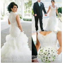 Vestido de noiva sereia Sexy Back Appliqued Vestido de noivas Casamento Ruffled Mermaid Lace Wedding Dresses MW864