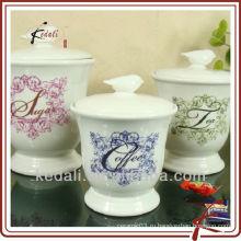 Набор керамических канистр для кофе, чая, сахара