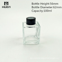 wholesale empty 100ml square glass reed diffuser bottle with wooden cap