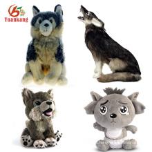 Bichos de pelúcia Stuffy brinquedo macio personalizado do bebê / grande / cinza e preto / azul / vermelho / branco / preto brinquedo de pelúcia lobo Whit Blue Eyes