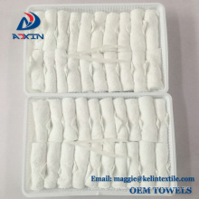 High quality disposable 100% cotton hot and cold airline towel in tray High quality disposable 100% cotton hot and cold airline towel in tray