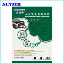 Suntek alta qualidade A4 transferência de água decalque papel