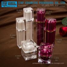 Capas dobles de color personalizable lujoso alta calidad varios cosméticos de tarro y la botella de acrílico envase