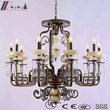 Retro Crystal Hotel Decorative pendant Lamp with Antique Brass