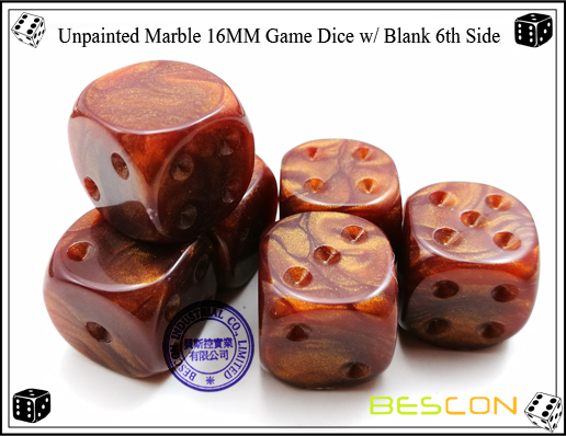Un-painted Marble Dice 16MM with Blank 6th Side-6