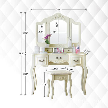 White French style 3 mirrors wooden dressing table 5 drawers