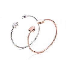 Personalizado Gravado Estrela Em Branco 18 K Banhado A Ouro Coração 316l Aço Inoxidável Cuff Bracelet Bangle