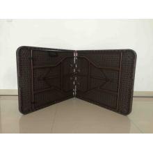6FT Hot Sale Outdooor Chocolate Rattan Design Plastic Folding Table